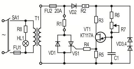 регулятор оборотов электродвигателя 220в схема
