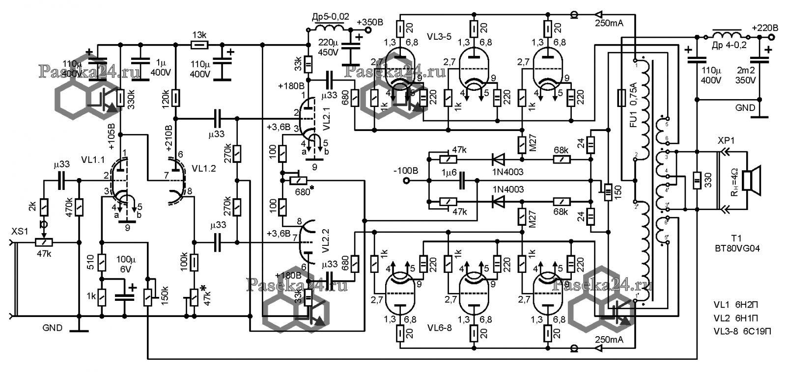 усилитель на 6п31с схема