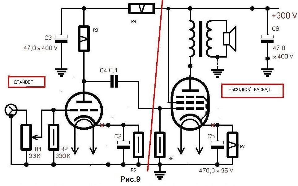 Ламповый однотактный усилитель на 6п3с